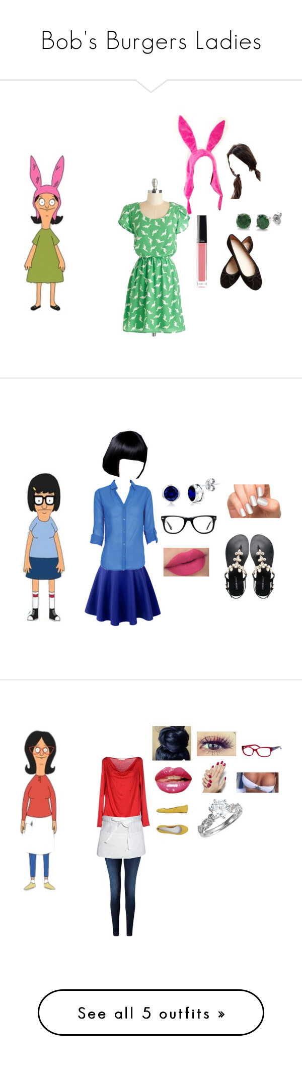 """Bob's Burgers Ladies"" by tinkerprincess26 on Polyvore featuring Gosh, Chanel, BERRICLE, Bobsbugers, LE3NO, Muse, Incoco, London Rebel, MakeOver and 7 For All Mankind"