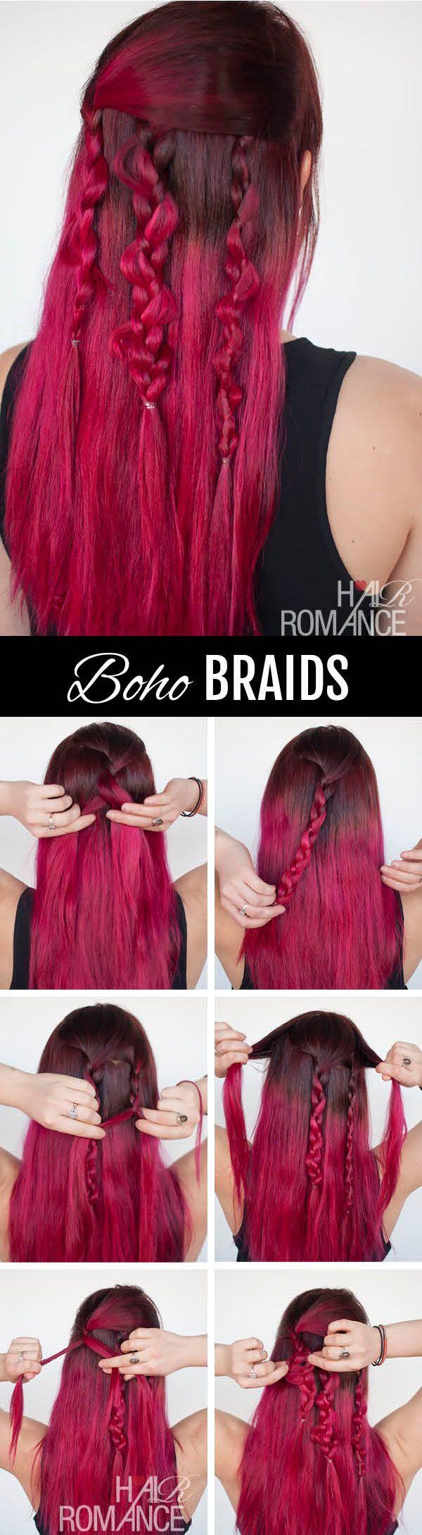 Hair romance the boho braids tutorial hair ideas pinterest