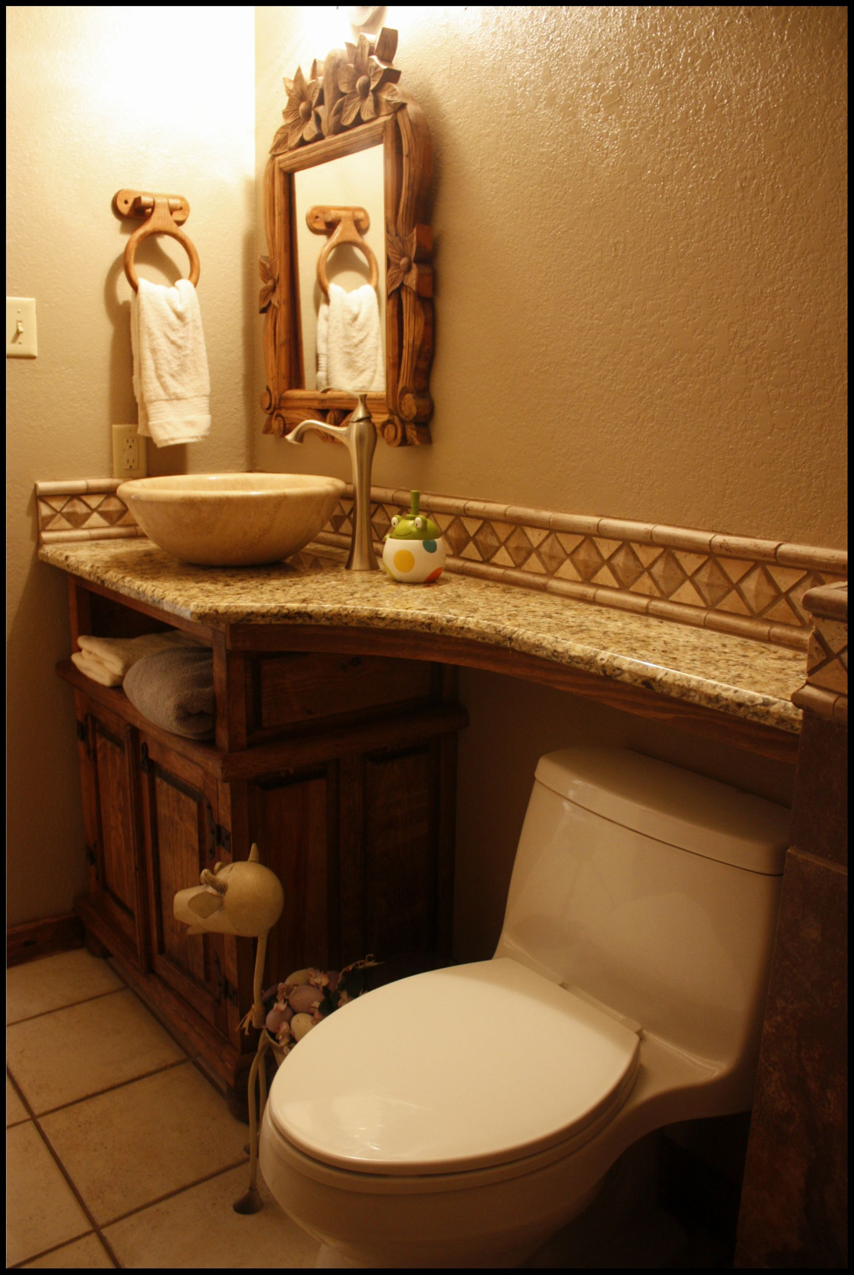 Small Bathroom With Granite On Top Of Toilet For Extra Counter Space Nice Change Small Rustic Bathrooms Rustic Bathrooms Small Bathroom Vanities