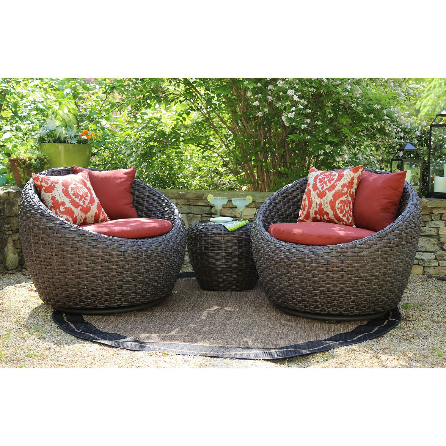 Corona 3 Pc Deep Seating Set With Premium Sunbrella