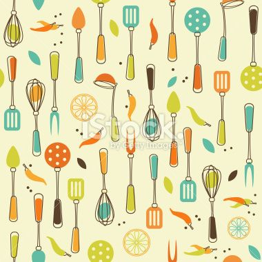 Seamless Pattern Of Kitchen Utensil In Retro Styled Vintage Kitchen Utensils Kitchen Wallpaper Design 1950s Kitchen Wallpaper