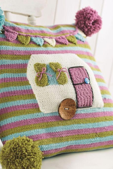 Cute caravan cushion   Knitted cushion pattern, Knitted ...