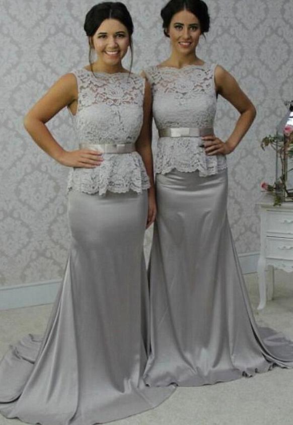 Bridesmaid Dress Silver Grey Lace Silk Satin Bridesmaid Dresses Mermaid Long Bridesmaid Dresses Lace Top Silver Bridesmaid Dresses Satin Bridesmaid Dresses