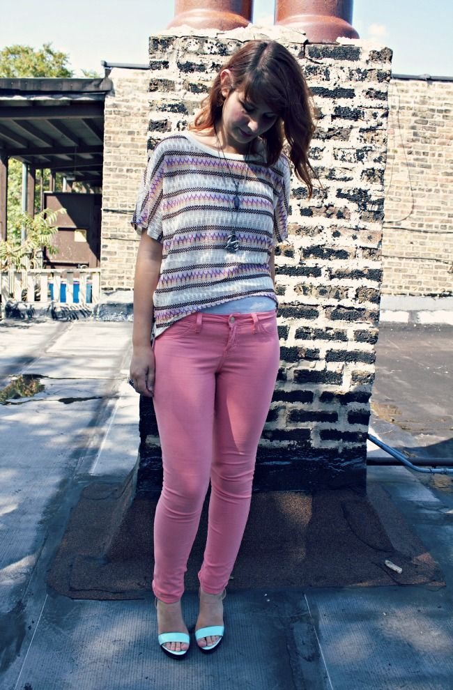 Stranger Than Vintage: What I Wore: The Summer to Fall Edition - colored denim fun!