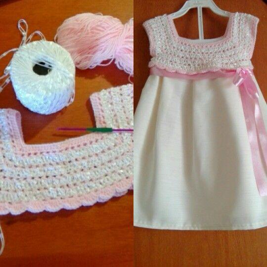 Hermoso #vestido para #niña en #crochet y tela [] # # #Crocheting, # #Dresses, # #Screen, # #Tissue