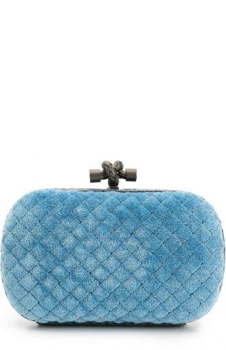 Клатч Knot из вельвета с отделкой из кожи змеи Bottega Veneta, синего цвета, арт. 113085/VB0R1 в ЦУМ | Фото №1