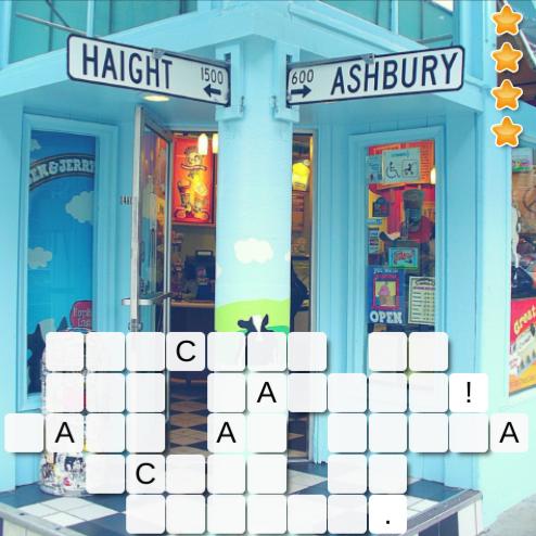Haight Ashbury icecream word puzzle sanfrancisco