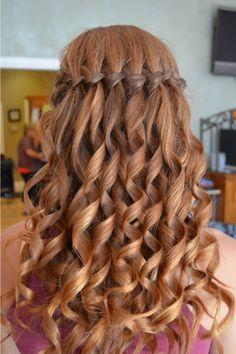 Curled Waterfall Braid Hair Styles Easy Hairstyles For Long Hair Long Hair Styles
