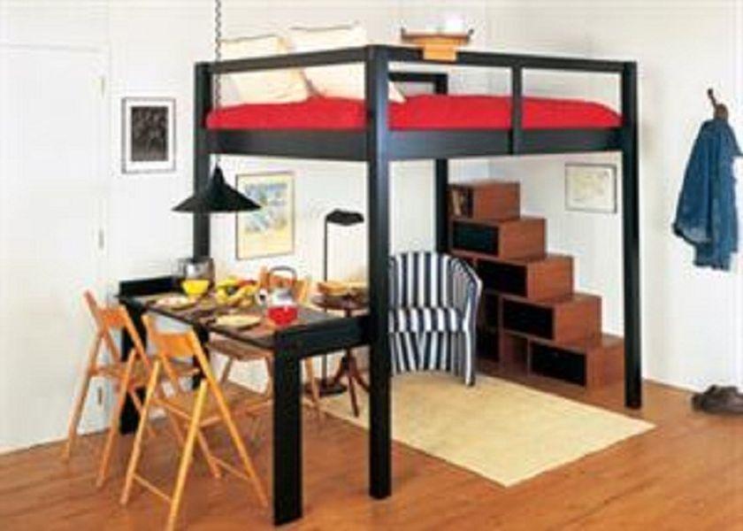 Smart Black King Size Loft Bed For Couples Adult Loft