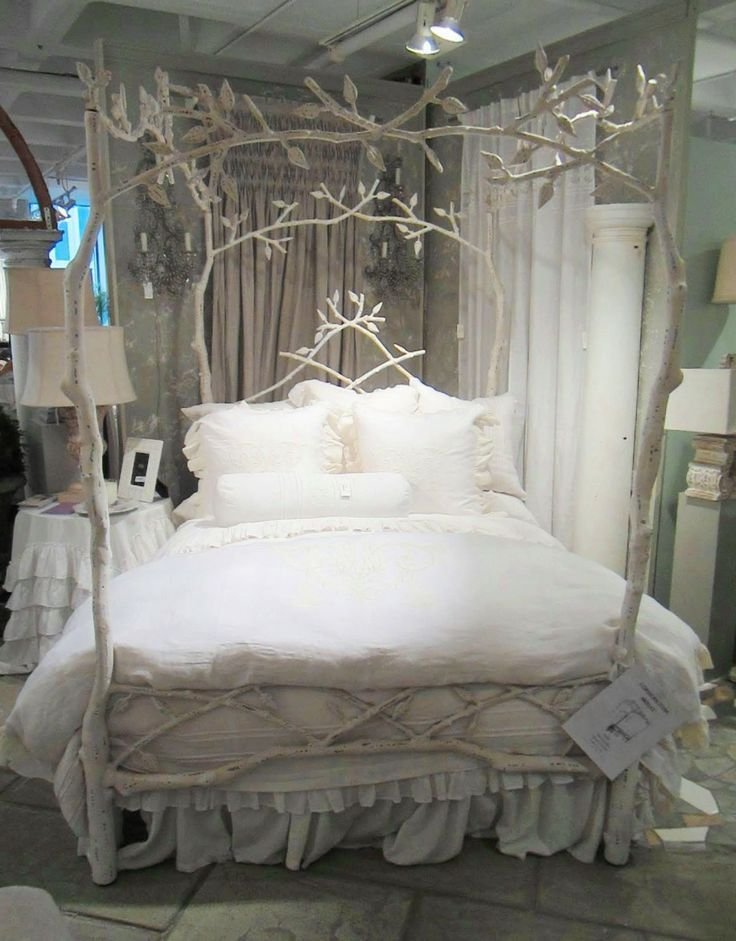 The Romantic - An iron bed made to look like tree branches frames elegant  romantic bed linens from Los Angeles based Pom Pom at Home.a collection of  organic ...