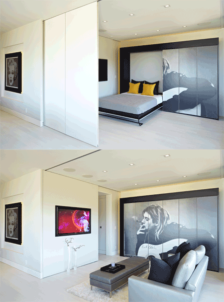 enchanting hidden bed furniture double creative wall | :: Havens South Designs :: loves how ceiling tracked ...