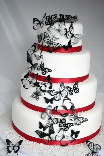 White And Red Wedding Cakes Pinterest