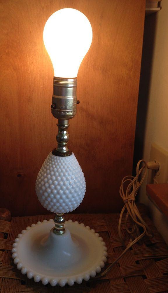 Vintage Milk Glass Lamp Leviton Hobnail Electric 12 Bedside Lamp