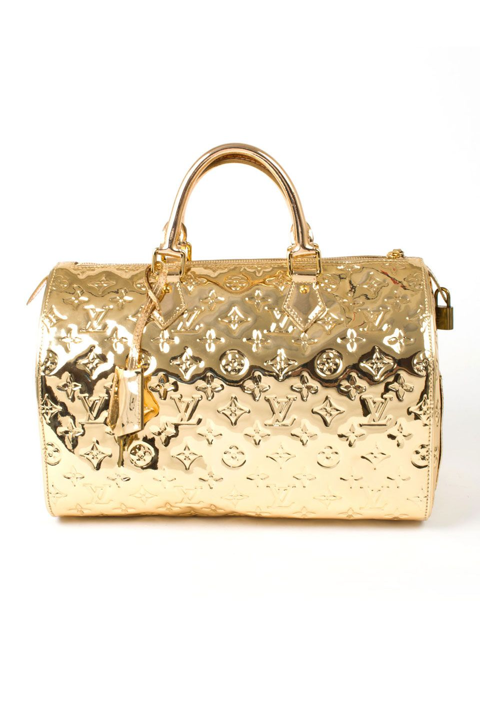 Lv limited edition miroir speedy 30 in gold tone louis for Miroir louis vuitton