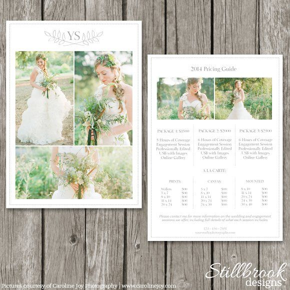 Photographer Price List Template by Stillbrook Designs on - price sheet template