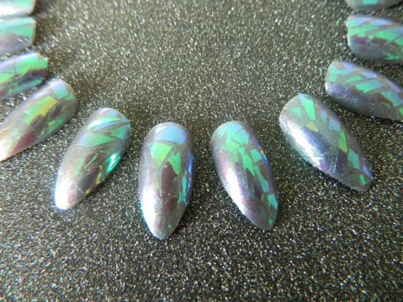 Shattered Glass False Nails by OutOfTheCanon on Etsy