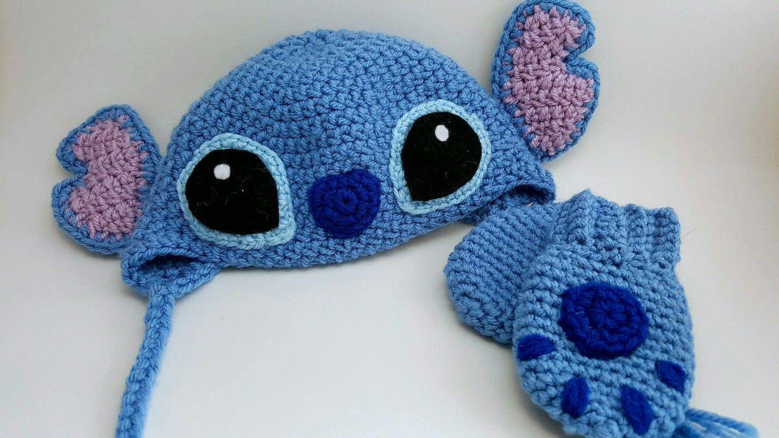 Crochet stitch baby beanie and mittens, disney lilo and stitch ...