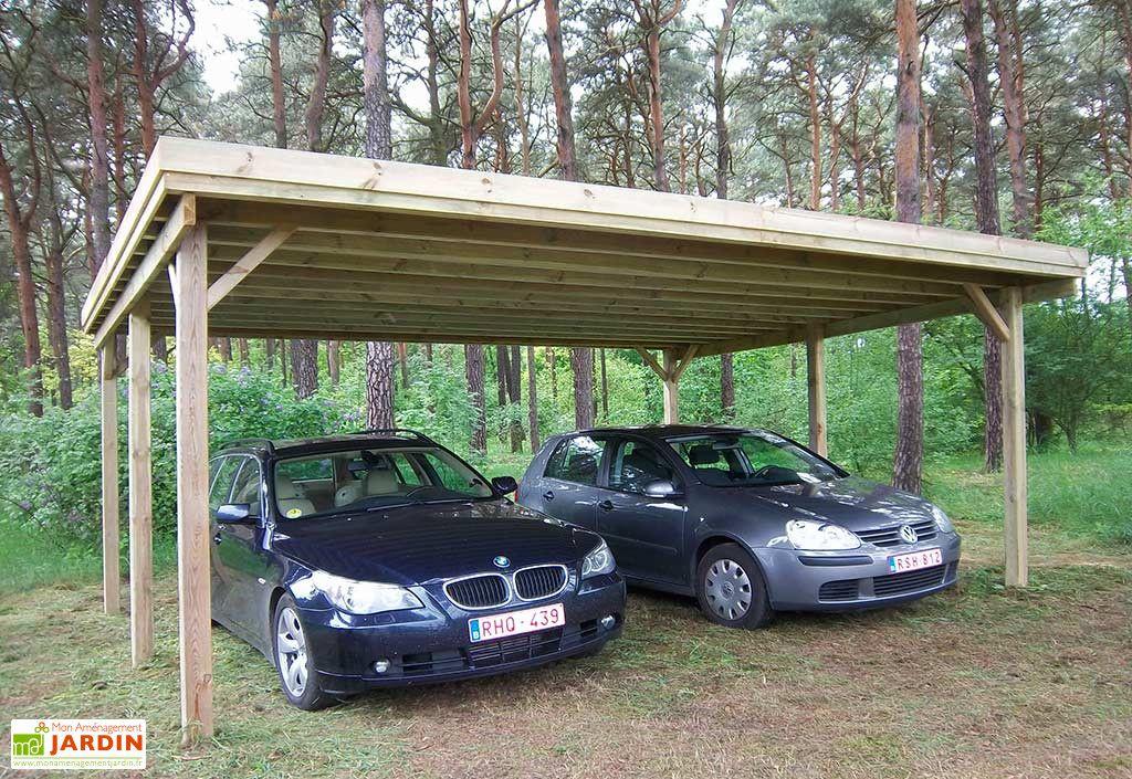Carport Double en Bois d'Épicéa Traité et Fibre de Verre