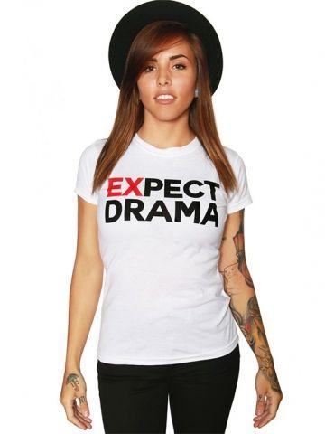 "Women's ""EXpect Drama"" Tee by Strange Children (White) #inkedshop #vixen #cute #dress #fashion #adorable #top #skirt #sexy #retro"