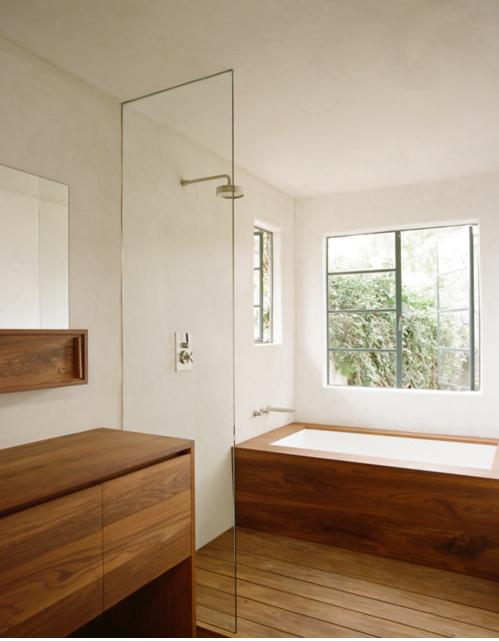 wooden shower floor seems like a bad idea, but it sure is pretty!