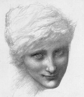Study of the mermaid's head for 'The Depths of the Sea' Edward Burne-Jones. Pencil, drawn around 1886