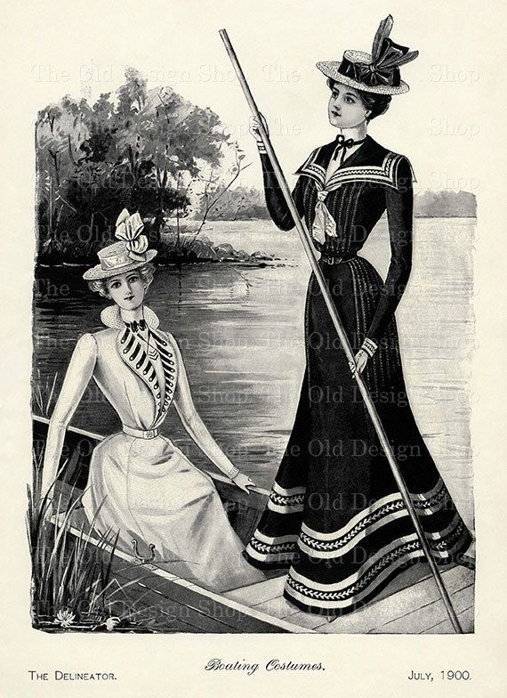 Vintage Lady Clip Art Fashionable Victorian Boating Costumes ...