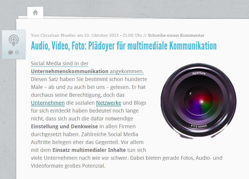 Multimediale Unternhemenskommunikation lohnt sich. Quelle: http://karrierebibel.de/audio-video-foto-plaedoyer-fuer-multimediale-kommunikation/
