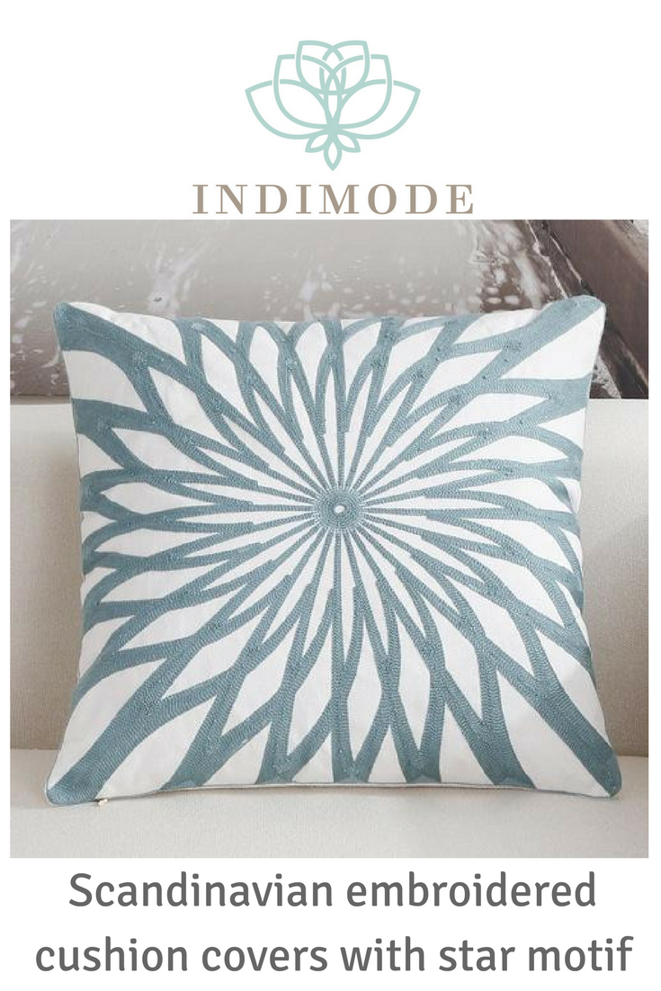 Scandinavian embroidery cushion cover teal star scandinavian