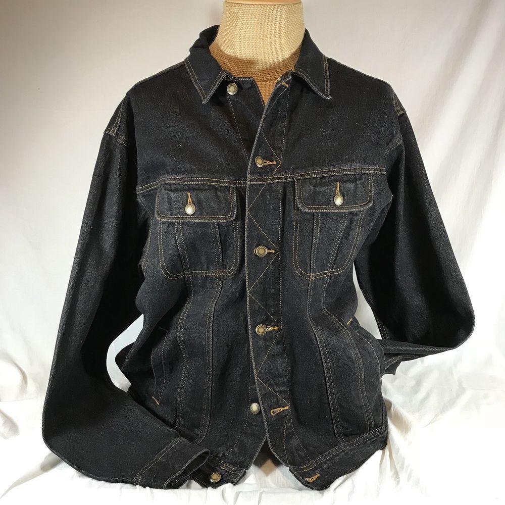 Wrangler Rugged Wear Denim Trucker Jean Jacket Black Xlt Orange Stitching Button Jeans Coat Jackets Mens Fashion Rugged Mens Outfits [ 1000 x 1000 Pixel ]