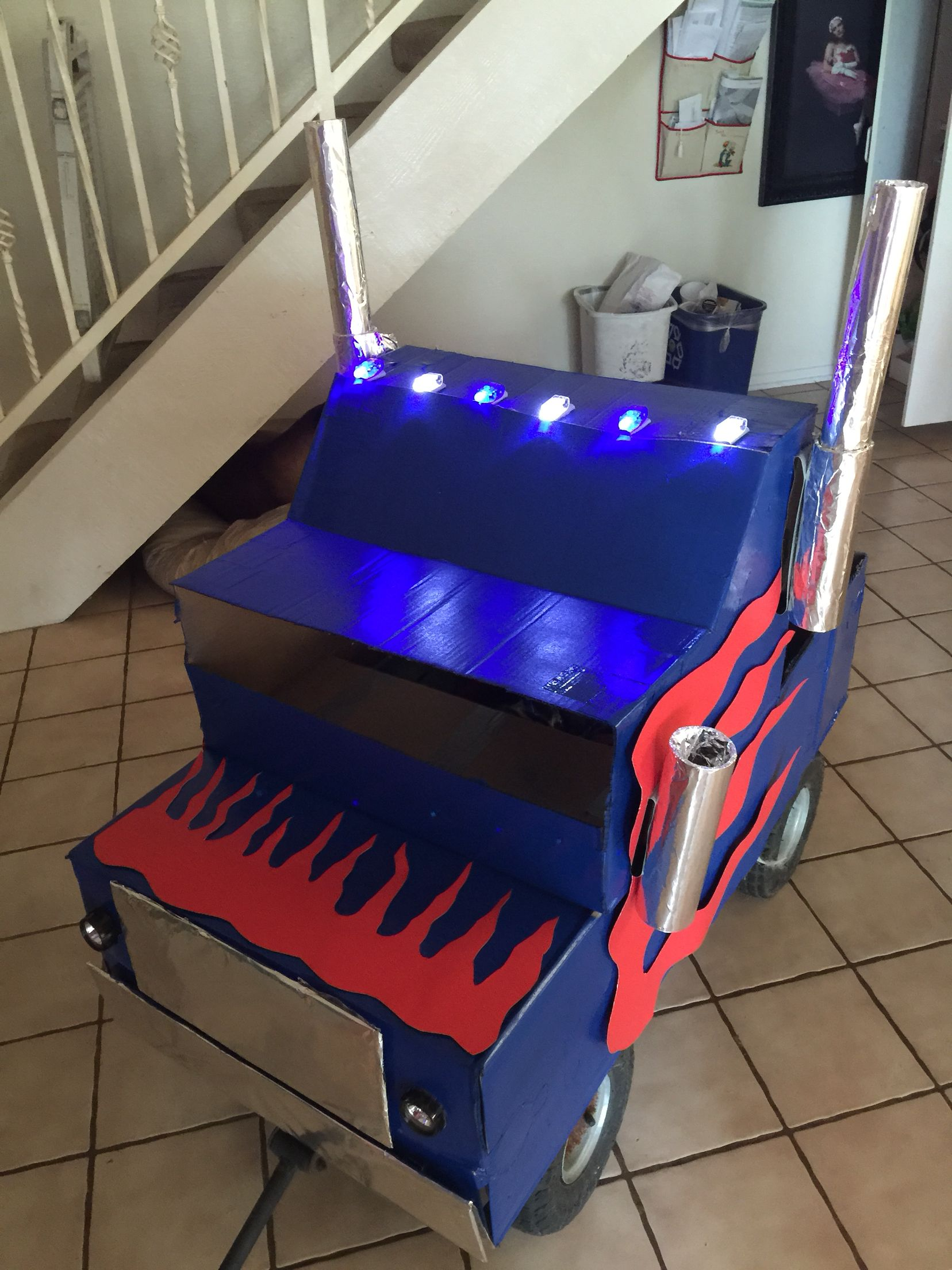 DIY Optimus Prime Truck From Cardboard, Spray Paint, And