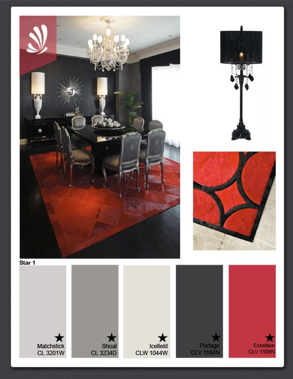 Black White And Red Glam Palette Red Dining Room Living Room Red Trendy Living Rooms #red #and #gray #color #scheme #living #room