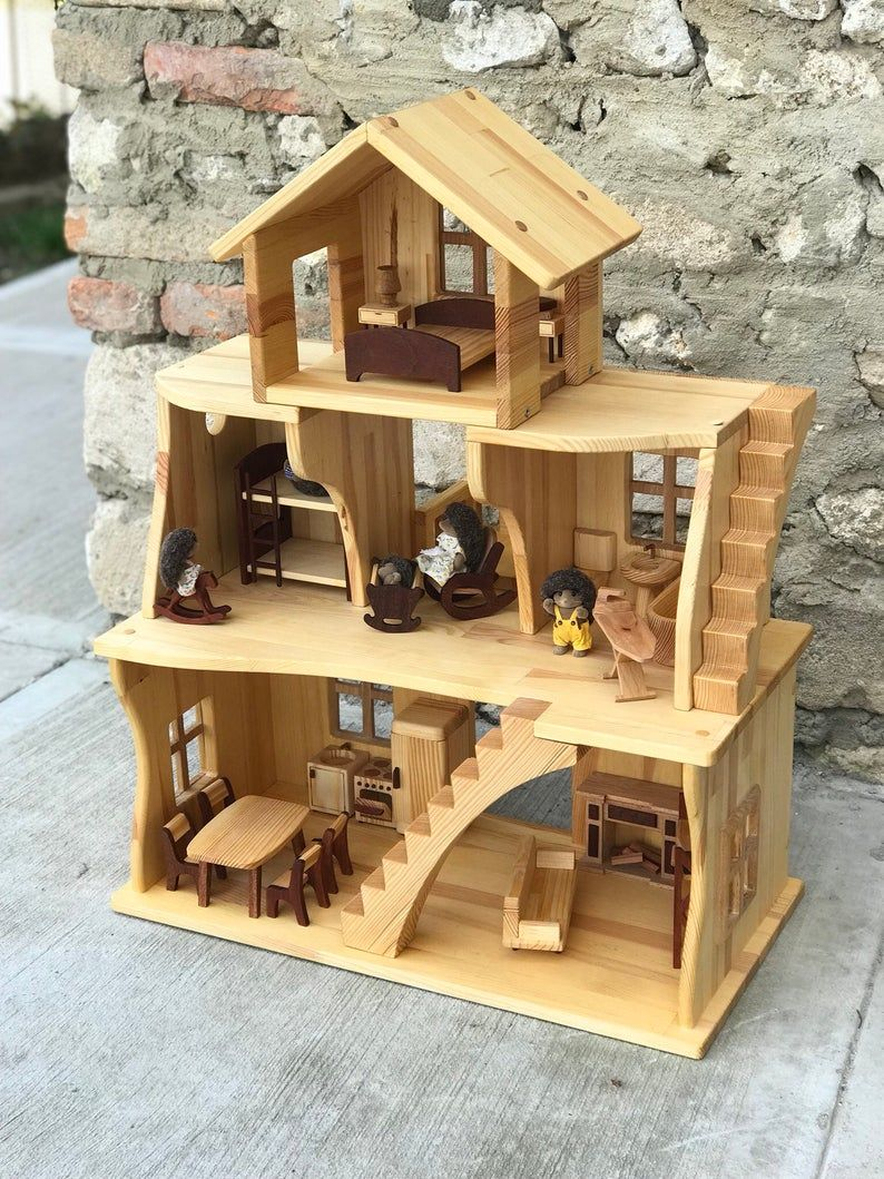 Wooden Dollhouse With Furniture Three Story Dollhouse 1 16 Scale 3 4 Wooden Eco Friendly Hygge Handmade Birthday Gift Christmas Gift In 2020 Wooden Dollhouse Doll House Plans Doll House