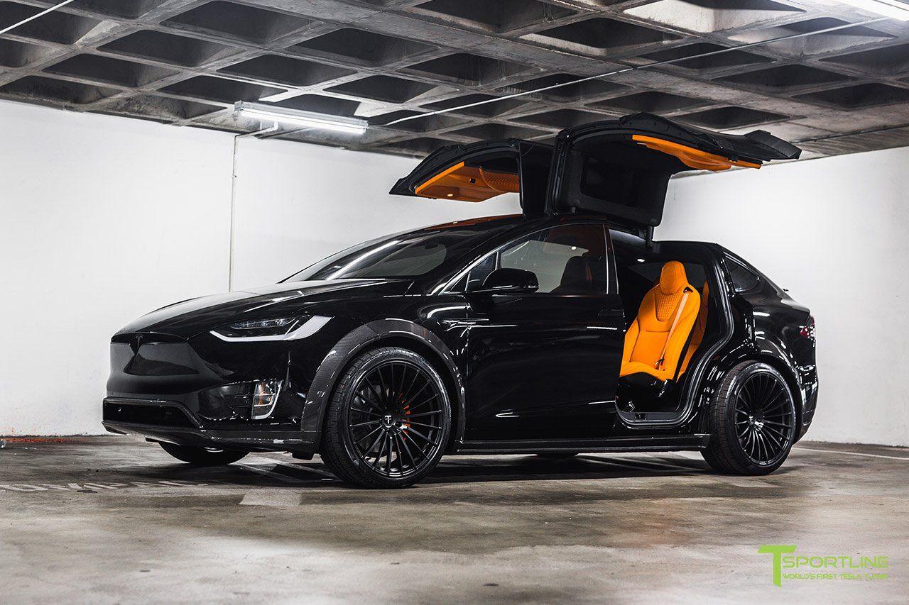 Orange And The All Black Meet T Sportline S Widebody Tesla Model X Carscoops Tesla Model X Tesla Model Custom Lamborghini