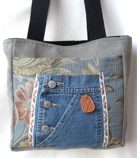 SALE Tote Bag Blue Floral Denim Mocha Organizer Terra Cotta Shamrock Embellishment