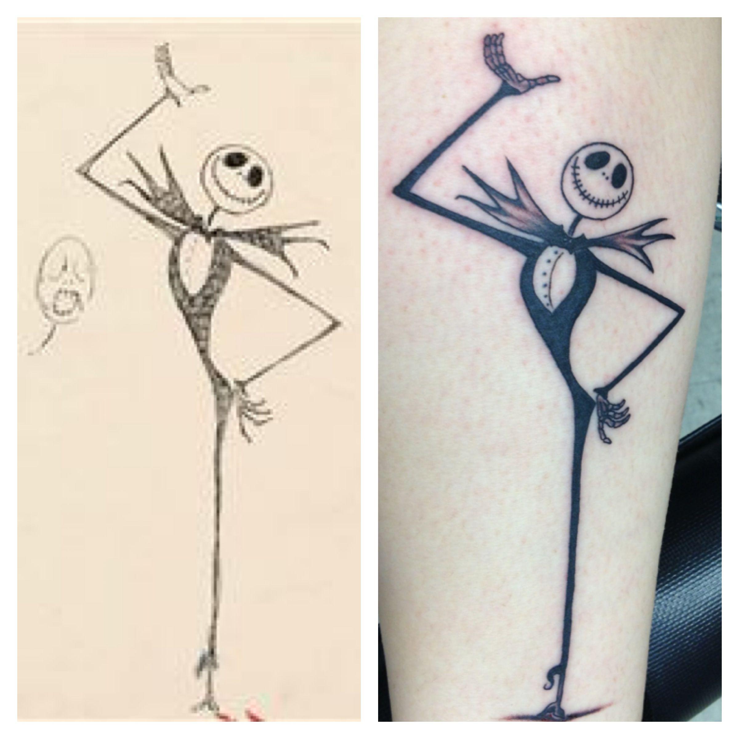 Original Tim Burton Sketch Of Jack Skellington Tattoo On My Right