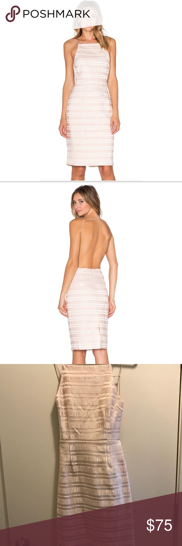 Endless Rose Metallic Backless Cocktail Dress