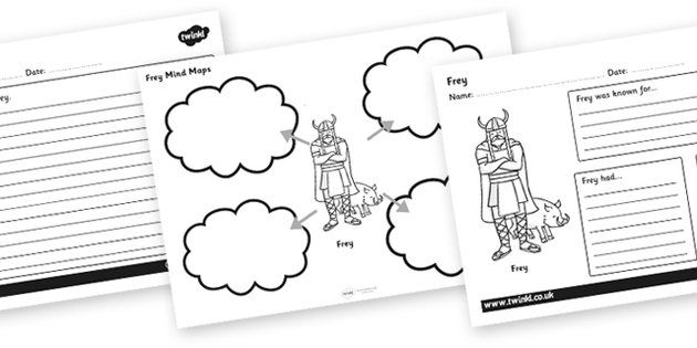 viking gods and goddesses mind maps and worksheets projecte vikings pinterest vikings. Black Bedroom Furniture Sets. Home Design Ideas