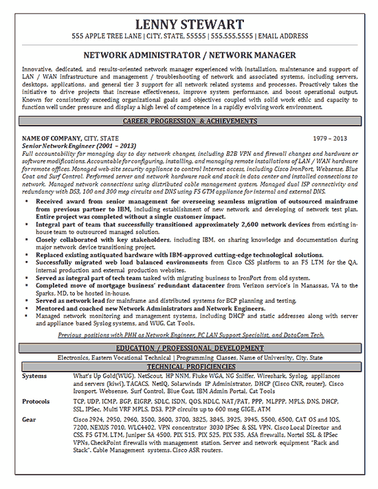 Network Manager Project Manager Resume Engineering