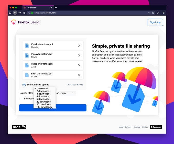 Mozilla launches its free, encrypted filesharing service