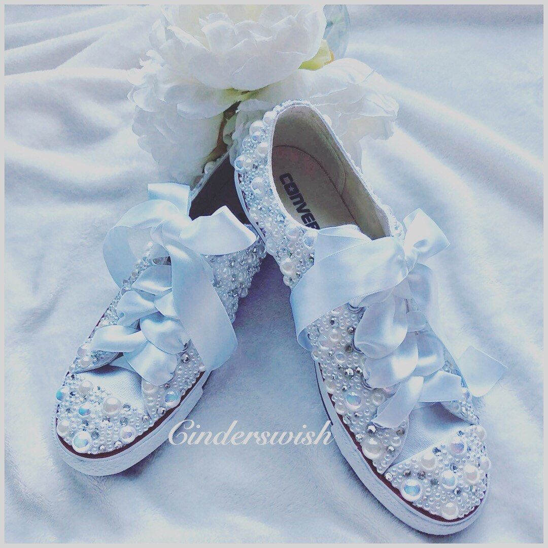 28e6bb64b43c0 Dainty Luxury pearl sparklers / All over converse / Bridal converse ...