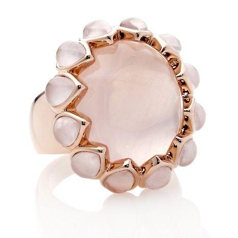 "Belleza™ ""Leandra"" Rose Quartz OvalPear Cabochon Ring"