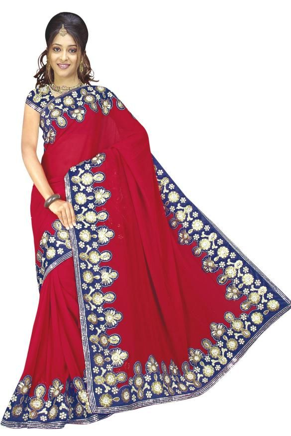 Navy Blue And Red Faux Georgette Saree 15333 With Unstitched Blouse