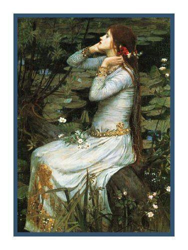 My Sweet Rose Pre-Raphaelite Waterhouse Counted Cross Stitch Chart Graph Pattern
