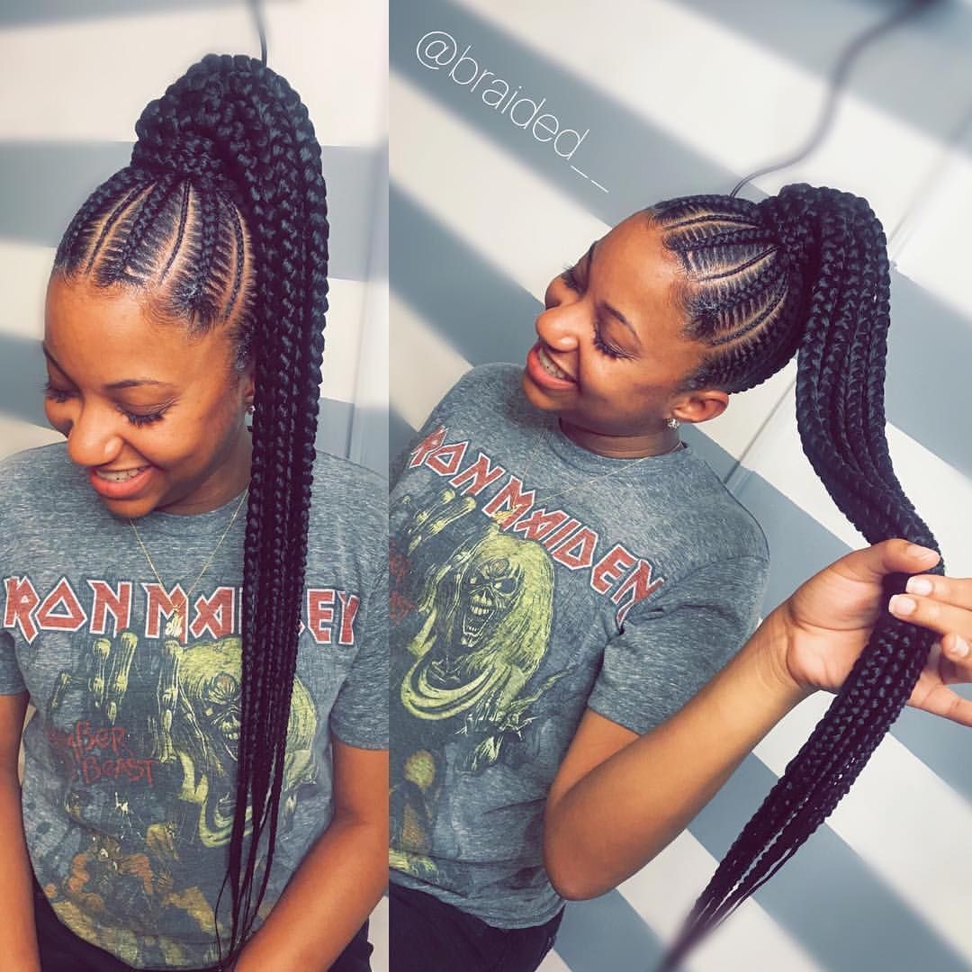 Super Cute Protective Style Courtesy Of Braided Follow Kinkyhairrock Braided Hairstyles Cornrow Hairstyles Braided Hairstyles For Black Women