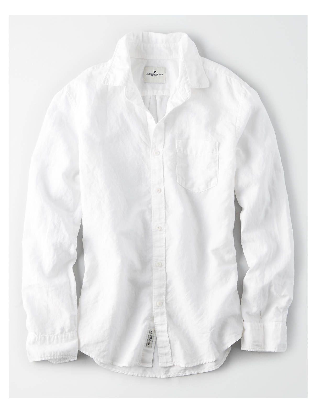 Ae Linen Shirt White American Eagle Outfitters White Shirts Women Casual Shirts For Men White Linen Shirt Men [ 1575 x 1211 Pixel ]