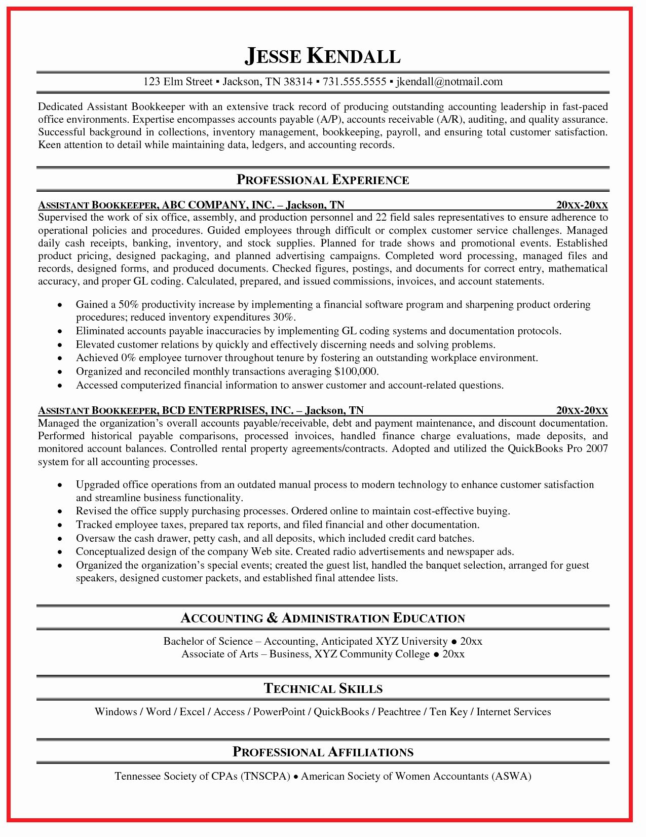 20 bookkeeper resume with quickbooks experience resume