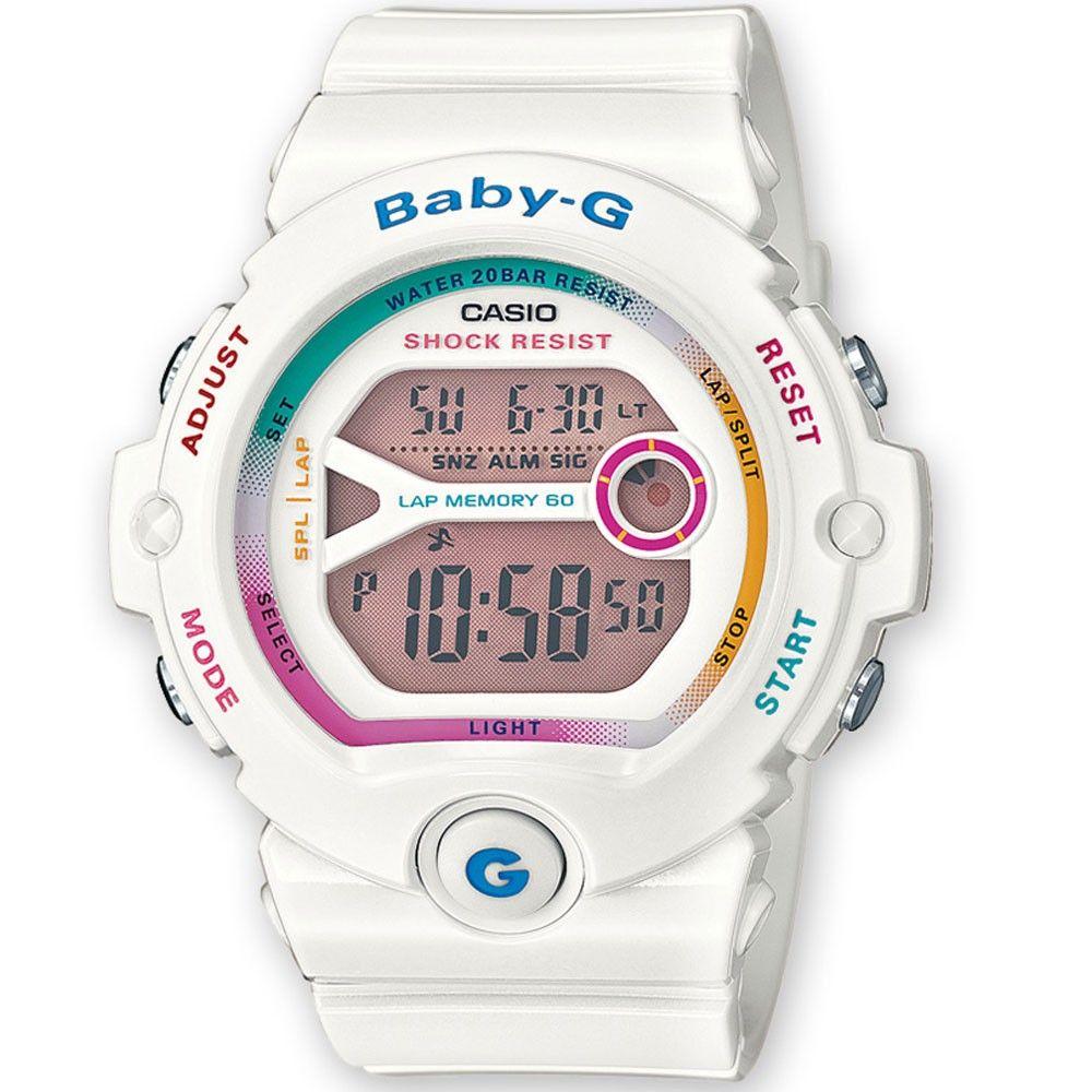 Ladies Casio Baby G White Multi Coloured Digital Watch Bg 6903