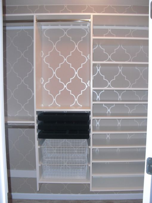 small walk-in master closet transformed with custom built-ins and