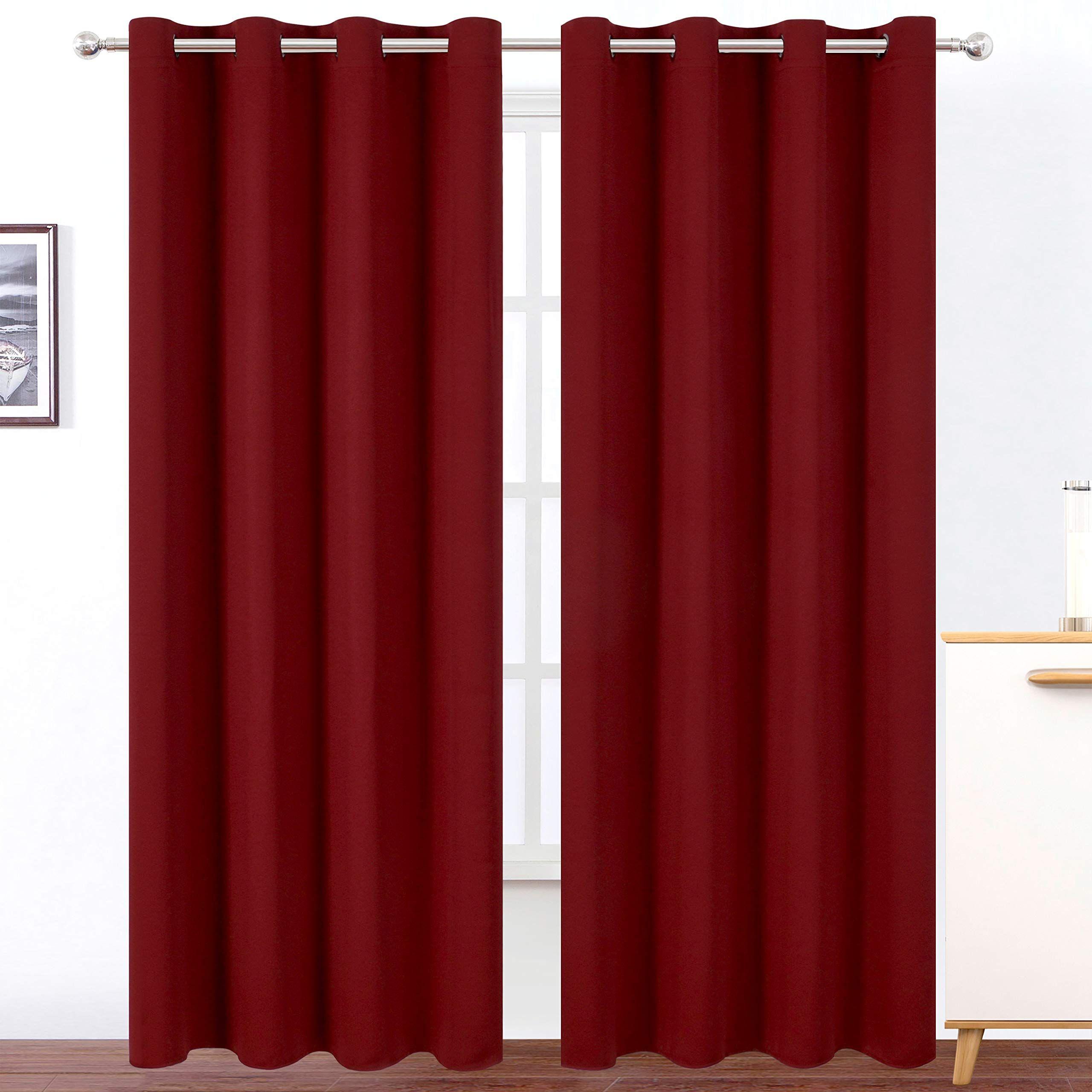 Lemomo Burgundy Red Bedroom Blackout Curtains 52 X 84 Inch Long Set Of 2 Panels Room Darkening Thermal Insulated Liv Curtains Red Curtains Bedroom Red Curtains