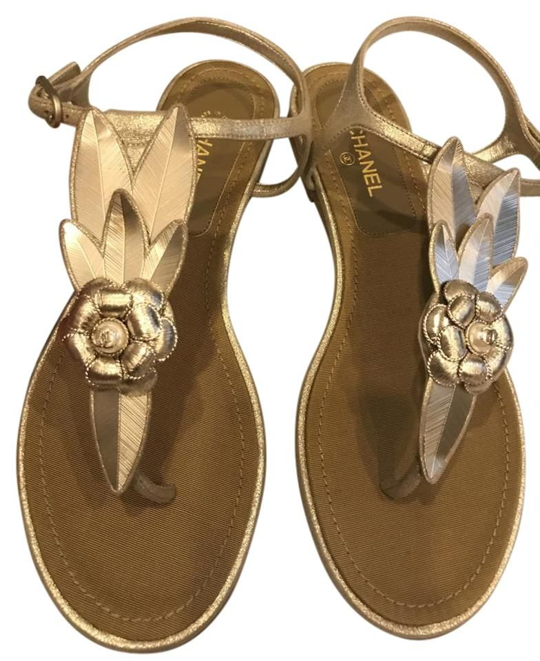 Chanel Gold 17p Camellia Leaf Pearl Thong Ankle T Strap Flat Sandals Size EU 38 (Approx. US 8) Regular (M, B)